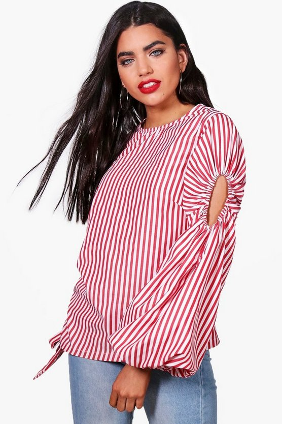 Striped Balloon Sleeve Ruched Side Top