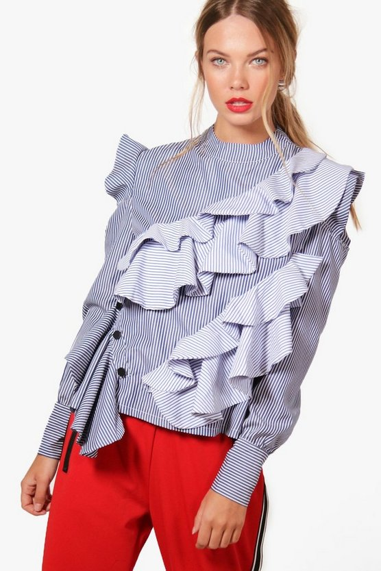 Martha Striped Cold Shoulder Ruffle Top