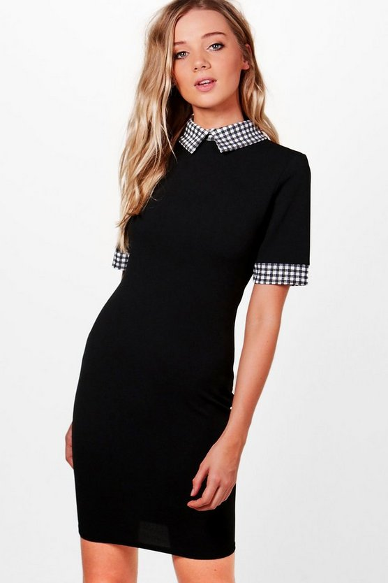 Lottie Contrast Gingham Collar & Cuff Dress