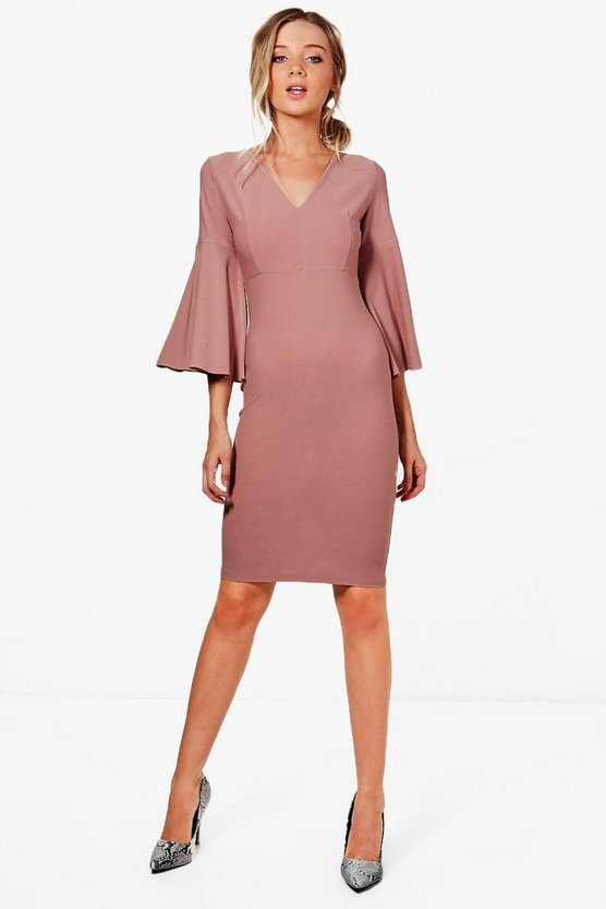 Jennifer Flare Sleeve Fitted Midi Dress