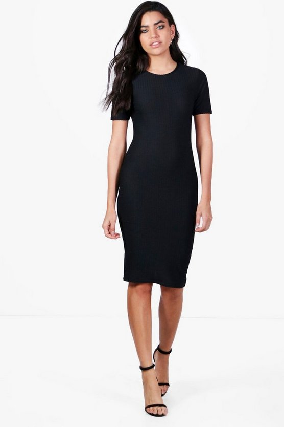 Lucy Short Sleeve Textured Midi Dress