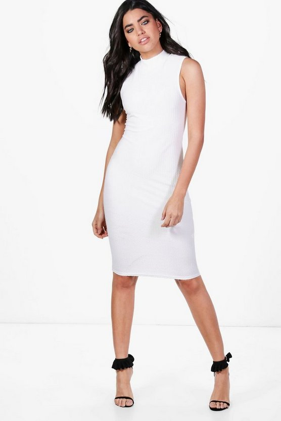 Lana Midi Length High Neck Sleeveless Dress