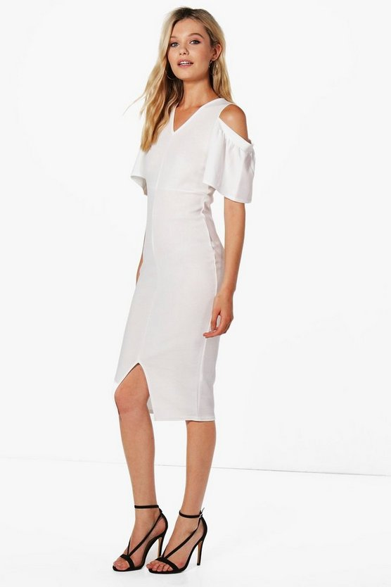Annabelle Cold Shoulder Frill Detail Midi Dress