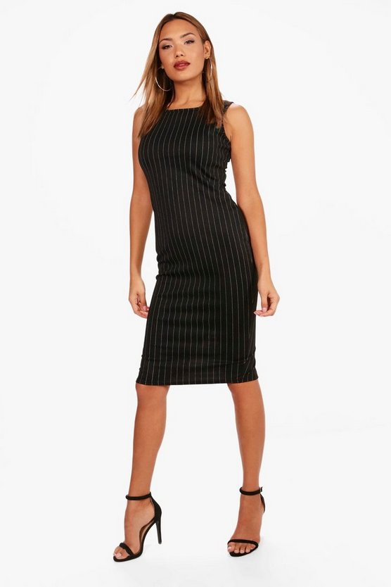Rebecca Pinstripe Sleeveless Midi Dress