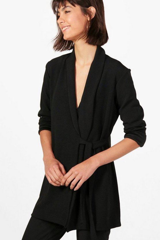 Sofia Collarless Tie Side Belted Jacket