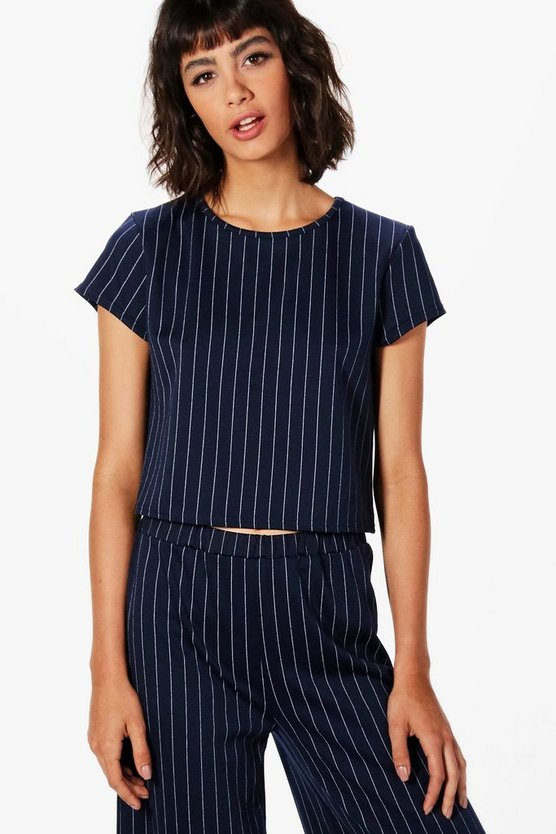 Lisa Pinstripe Boxy Top