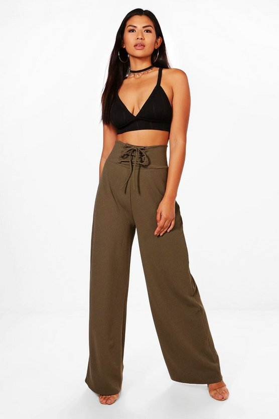 Honor Corset Waist Crepe Wide Leg Trousers