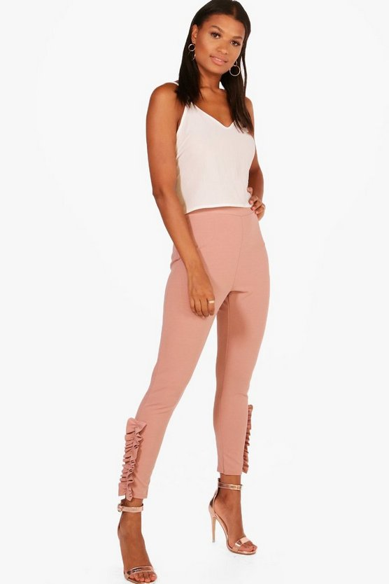 Mira Ruffle Ankle Skinny Fit Trousers