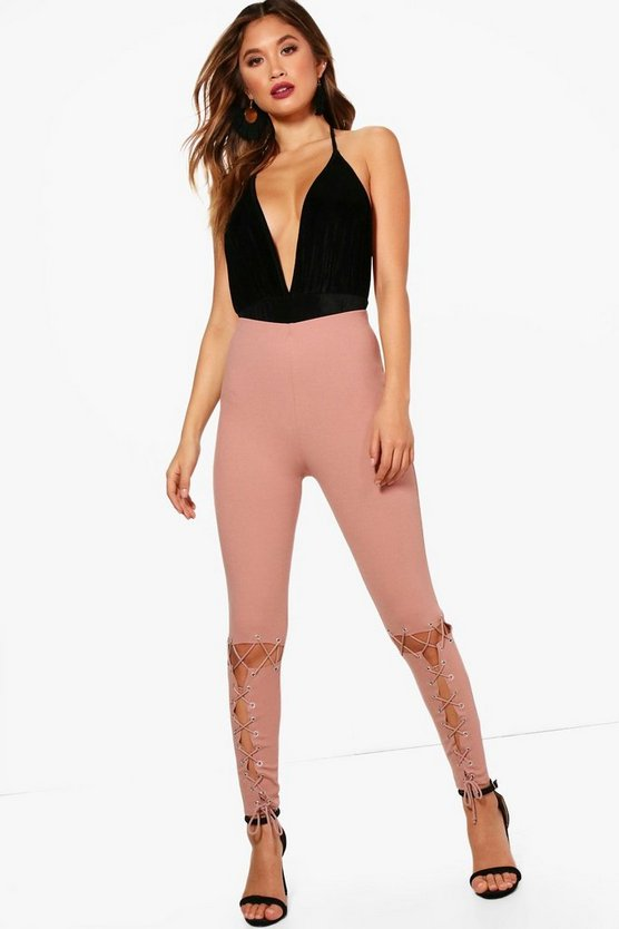 Lottie Eyelet Lace Up Stretch Trousers