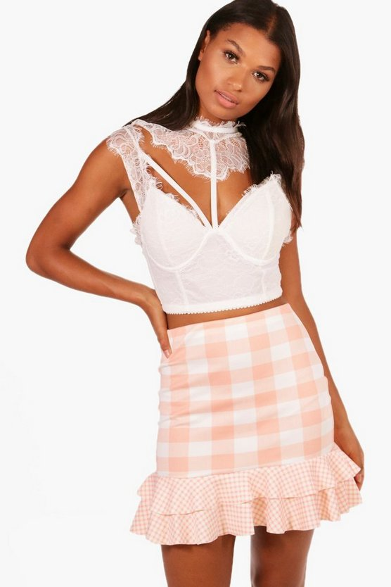 Sophie Gingham Mix Double Ruffle Mini Skirt