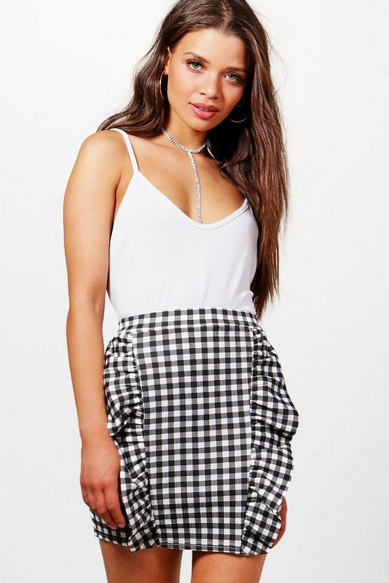 Evelyn Large Gingham Ruffle Front Mini Skirt