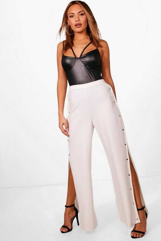 Alisha Popper Side Crepe Wide Leg Trousers