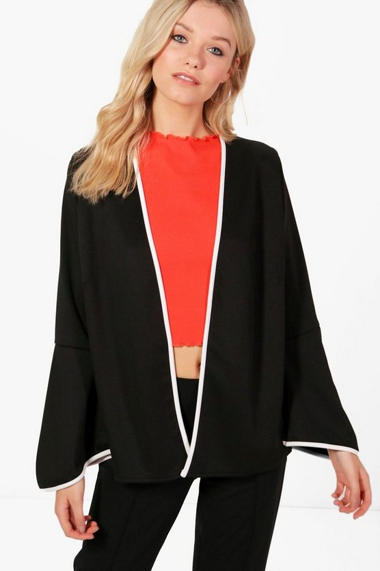 Abigail Contrast Piping Flare Sleeve Jacket