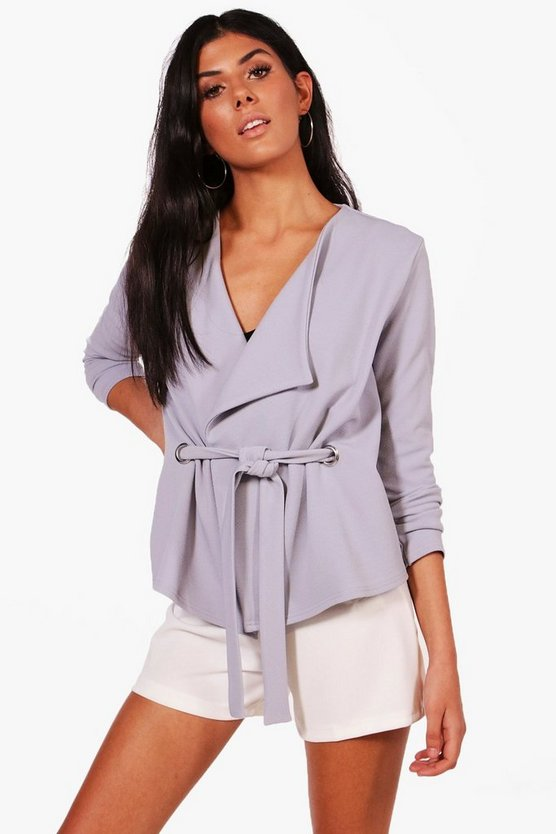 Zoe Tie Front Eyelet Detail Jacket