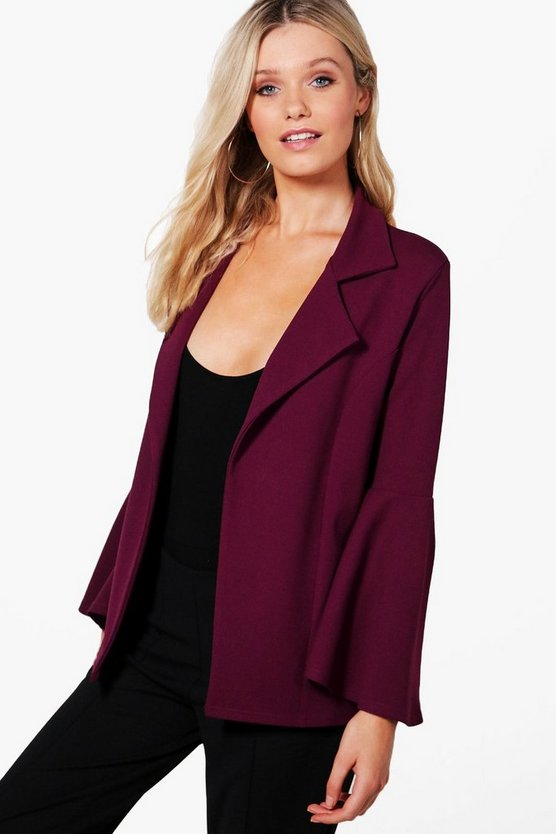 Heather Oversized Flare Sleeve Blazer