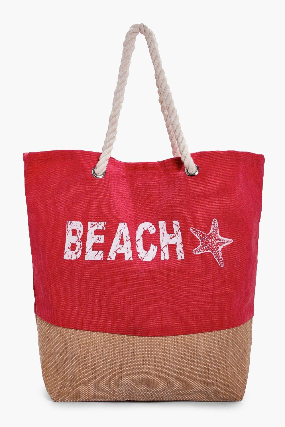 Beach Slogan Beach bag - red - Lucy Beach Slogan B