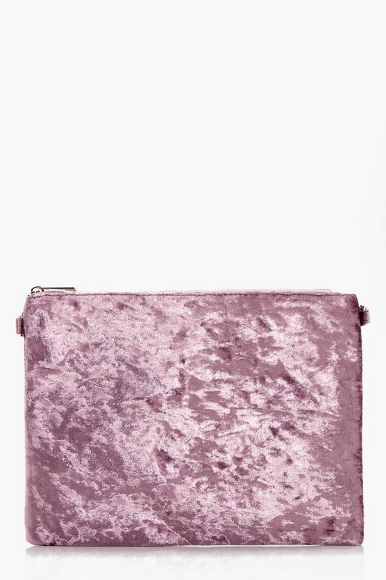 Kellie Velvet Zip Top Clutch Bag