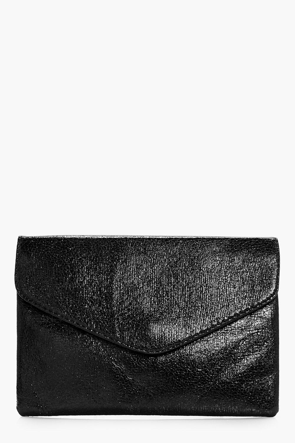 Cracked Metallic Clutch - black - Emma Cracked Met