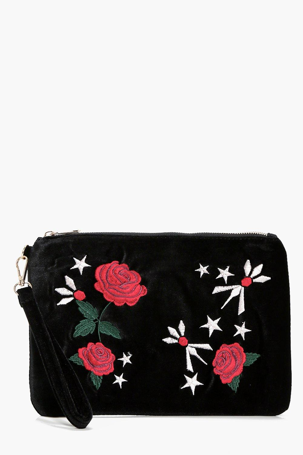 Rose Velvet Embroidered Clutch - black - Kerry Ros
