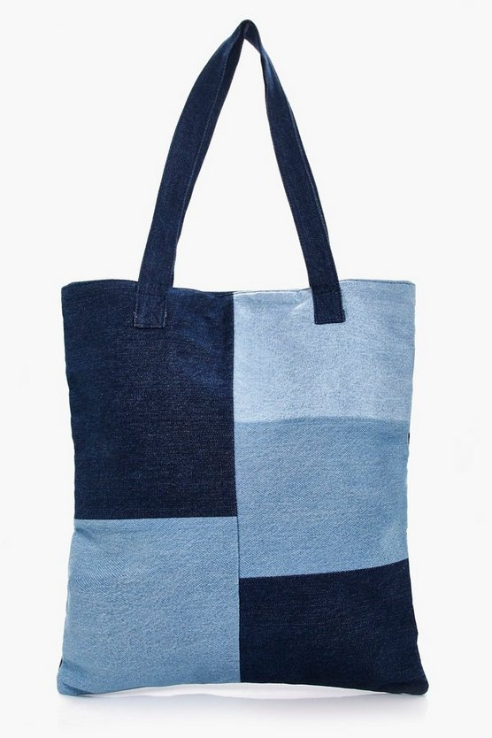 Natalie Patchwork Denim Shopper