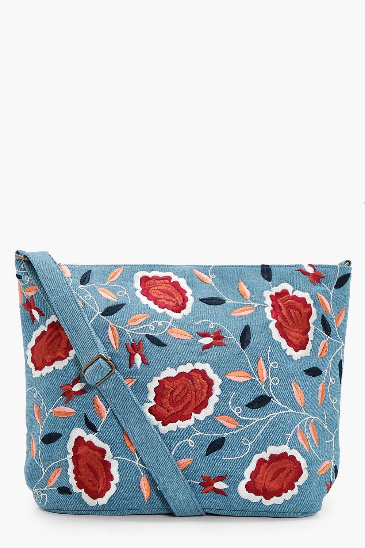 Denim Embroidery Cross Body Bag - blue - Louise De