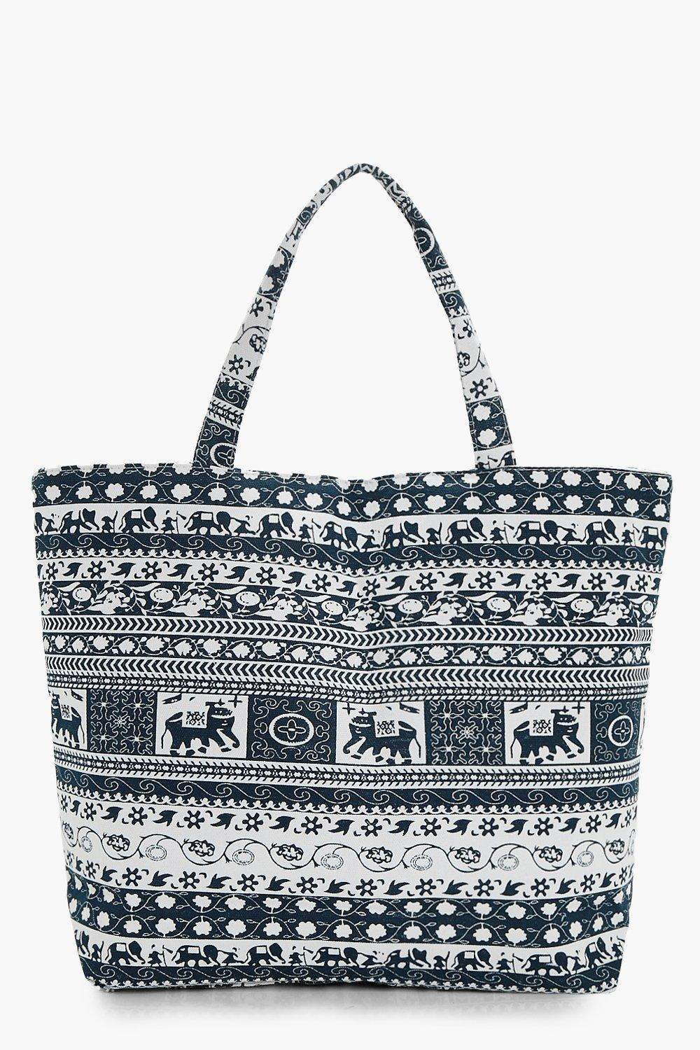 Elephant & Floral Beach Bag - blue - Laura Elephan