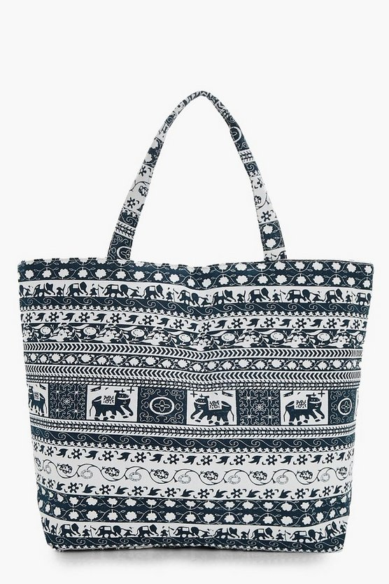 Laura Elephant & Floral Beach Bag