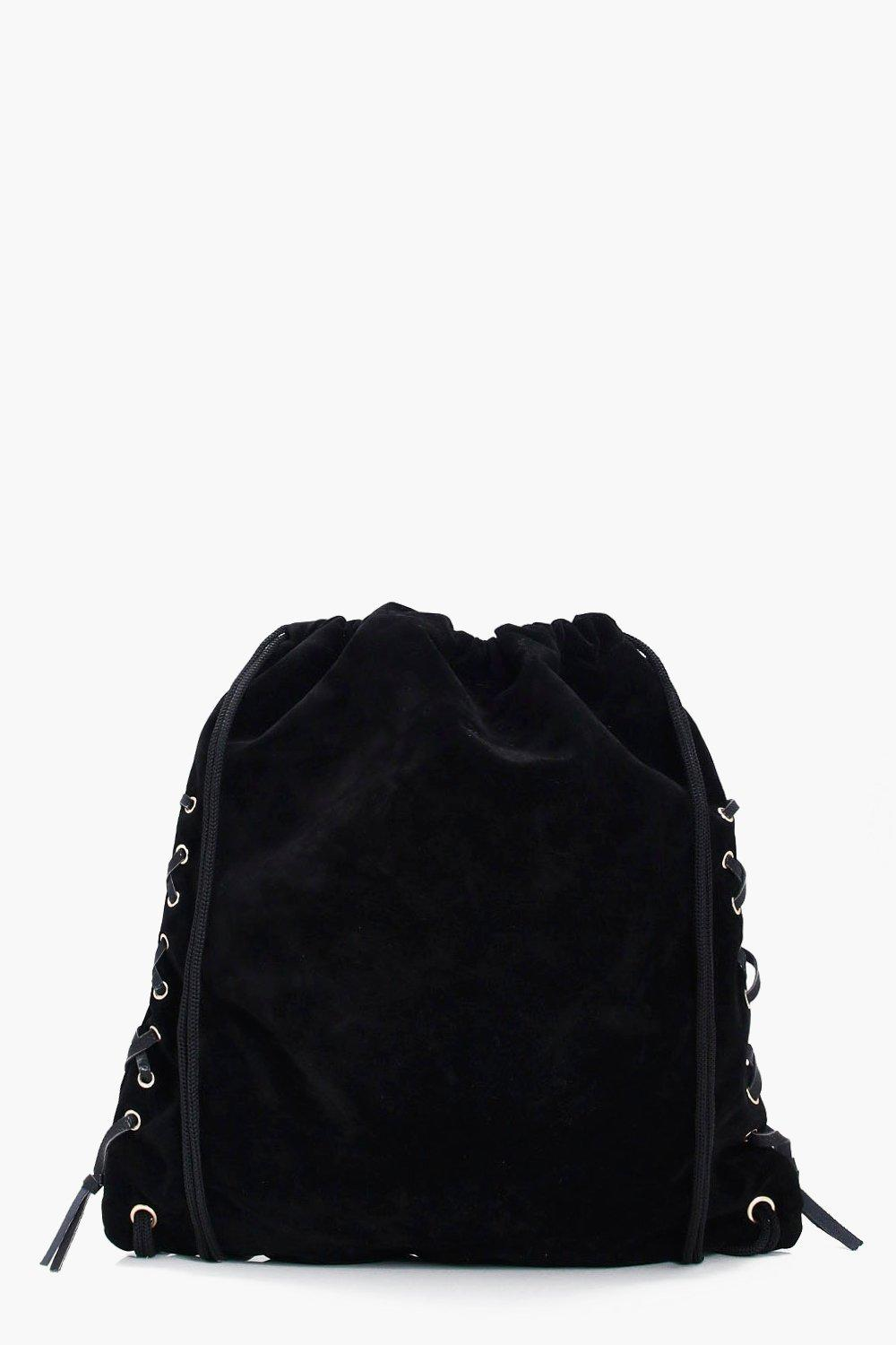 Lace Up Drawstring Rucksack - black - Natalie Lace
