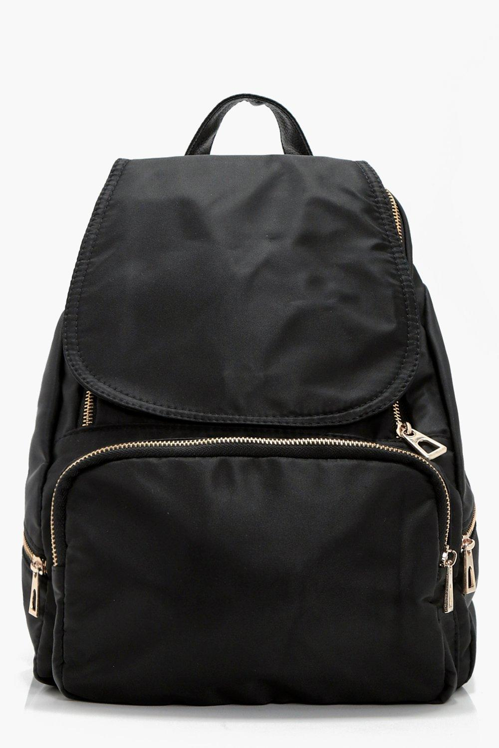 Nylon Zips And Flap Rucksack - black - Kerry Nylon