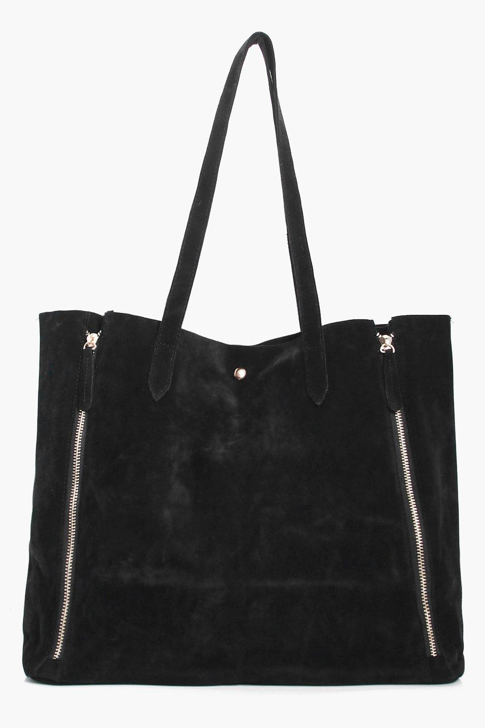 Mock Zip Suedette Shopper Bag - black - Laura Mock