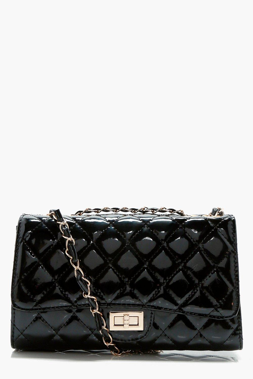 Patent Quilted Cross Body Bag - black - Rosie Pate