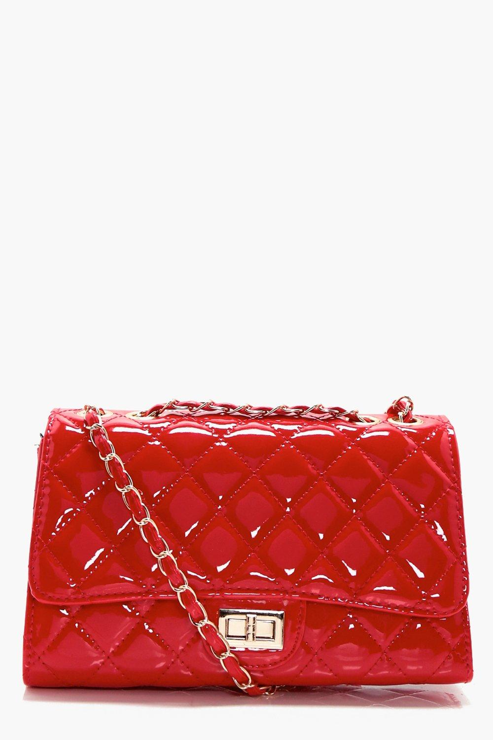 Patent Quilted Cross Body Bag - red - Rosie Patent