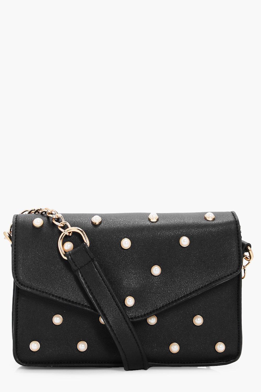 Pearl Stud Box Cross Body Bag - black - Rosie Pear