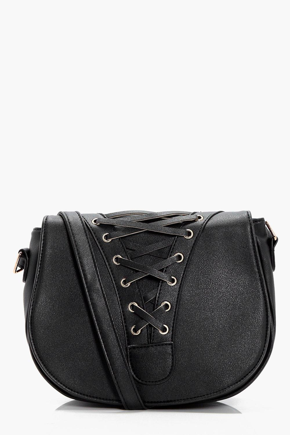 Lace Up Corset Saddle Bag - black - Heather Lace U