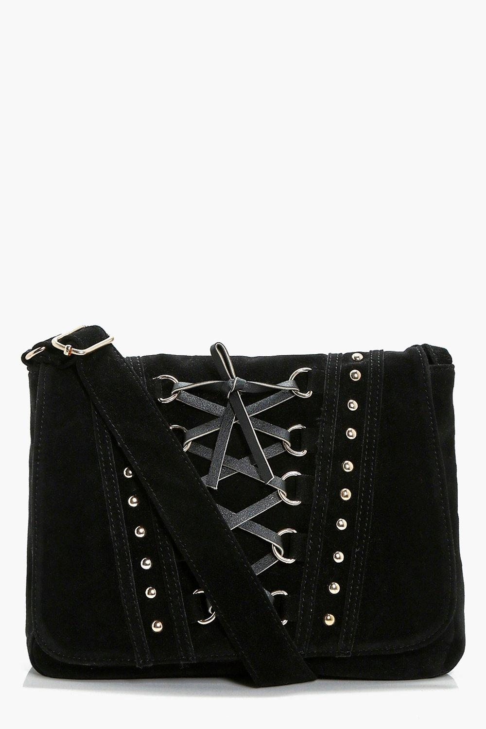 Corset And Stud Cross Body Bag - black - Lucy Cors