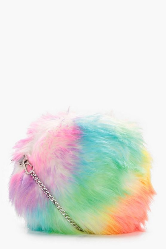 Jodie Multi Colour Fur Cross Body Bag