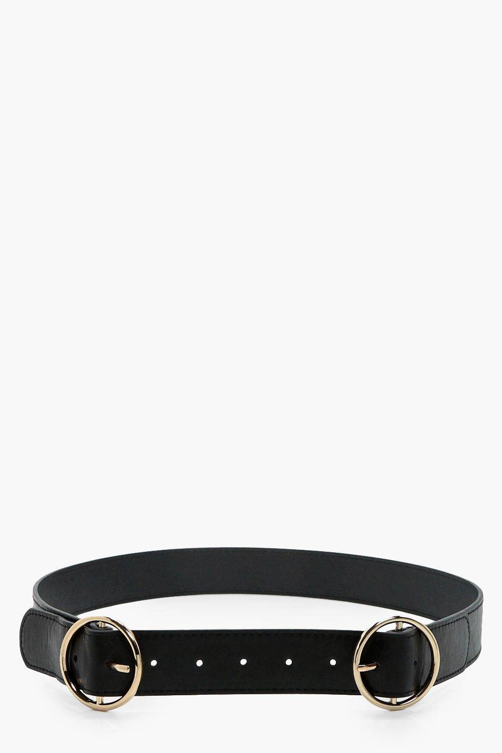 Double Ring Buckle Boyfriend Belt - black - Rosie