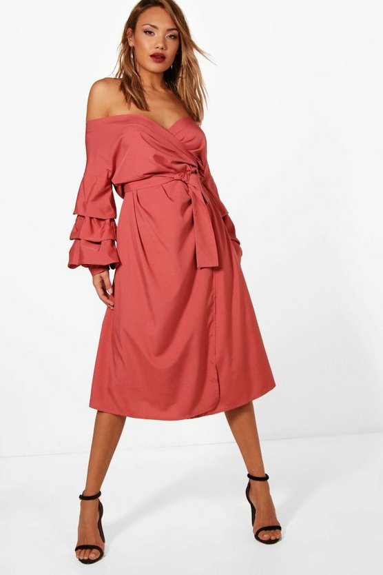 Kat Ruched Sleeve Midi Wrap Dress
