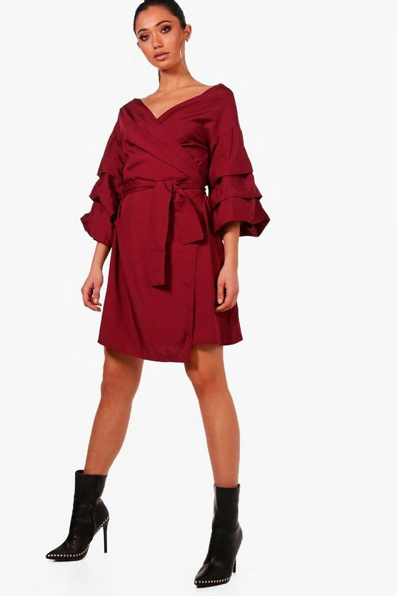 Lucy Ruched Sleeve Wrap Dress