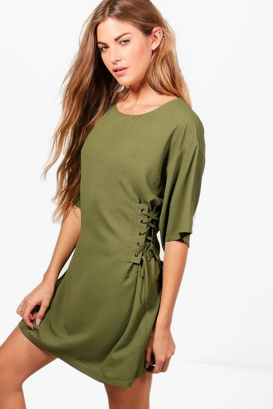 Emma Lace Up Side Corset Shift Dress