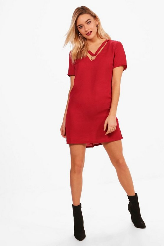 Eyelet Cross Strap Shift Dress