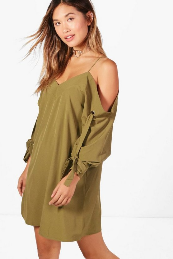 Hannah Cold Shoulder Eyelet Sleeve Shirt Dress