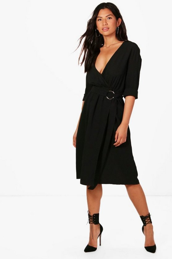 D Ring Belted Cupro Midi Dress