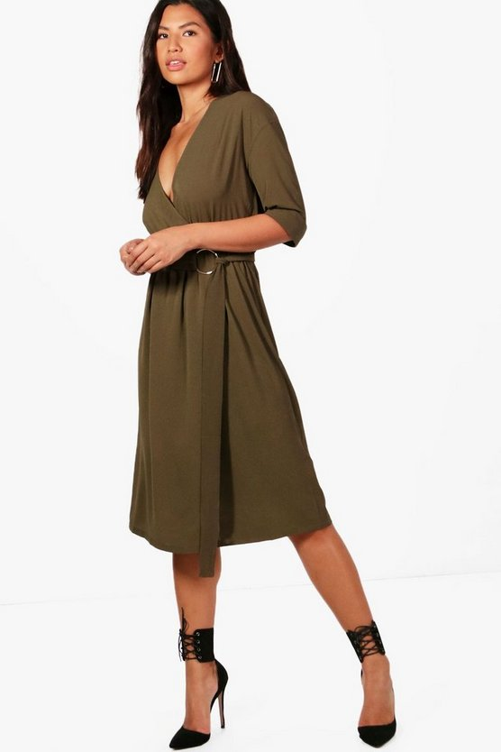 Josie D Ring Belted Cupro Midi Dress