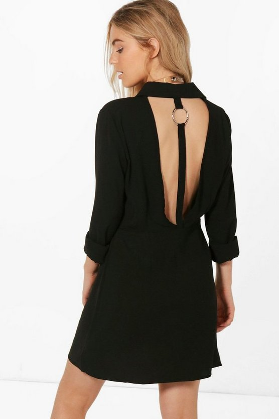 Jess Open Back O Ring Detail Shirt Dress