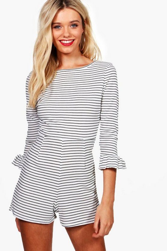 Tina Ribbed Stripe Flute Sleeve Playsuit