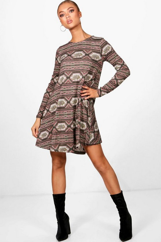 Adira Aztec Brushed Knitted Swing Dress