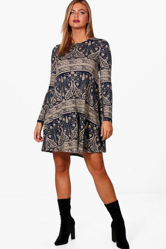 Abbie Paisley Brushed Knit Swing Dress