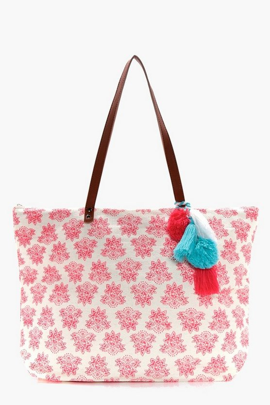 Louise Pom Pom Trim Printed Beach Bag