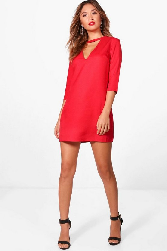 Laurie Choker Plunge Shift Dress